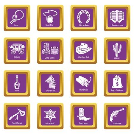 Icônes de Far west set vector carré violet isolé sur fond blanc