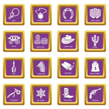 Wild west icons set vector purple square isolated on white background