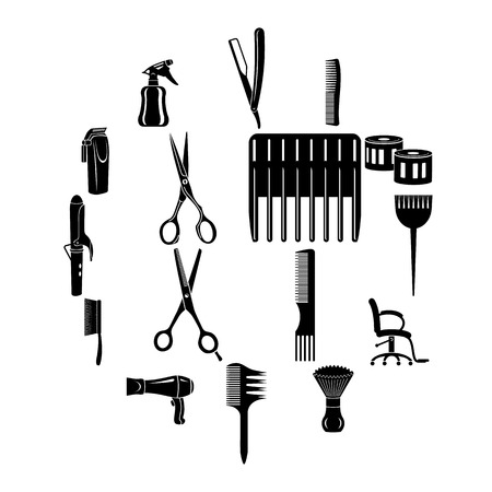 Hairdresser tools icons set. Simple illustration of 16 hairdresser tools vector icons for web Vectores