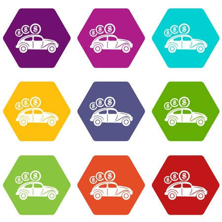 Car on credit icons 9 set colorful isolated on white for web. Vector illustration.