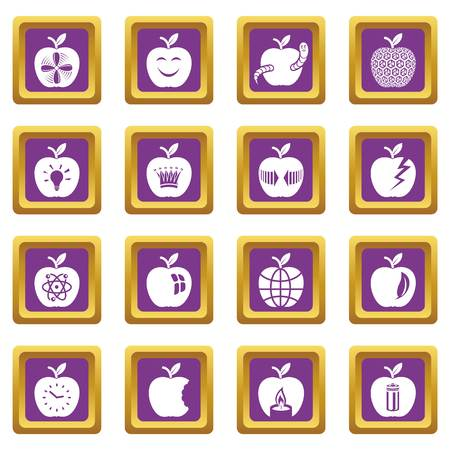 Apple logo icons set vector purple square isolated on white background