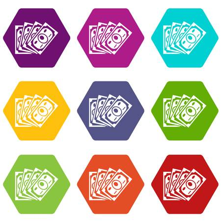 Money icons 9 set coloful isolated on white for web Illustration