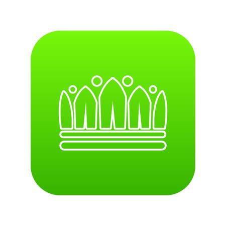 Snow crown icon green vector isolated on white background Standard-Bild - 100451476