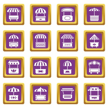 Street food kiosk icons set vector purple square isolated on white background