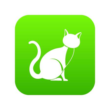 Black cat icon digital green for any design isolated on white vector illustration