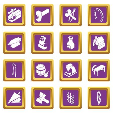 Blacksmith tools icons set vector purple square isolated on white background