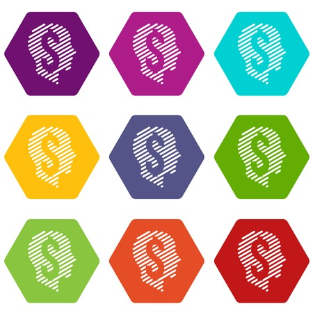 Dollar sign icons 9 set coloful isolated on white for web