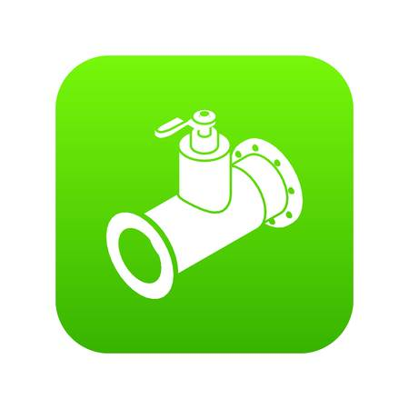 Pipe water icon green vector isolated on white background Illustration