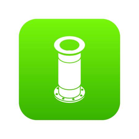 Sewerage pipe icon green vector isolated on white background