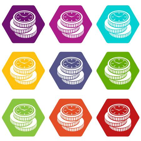 Coin icons 9 set coloful isolated on white for web