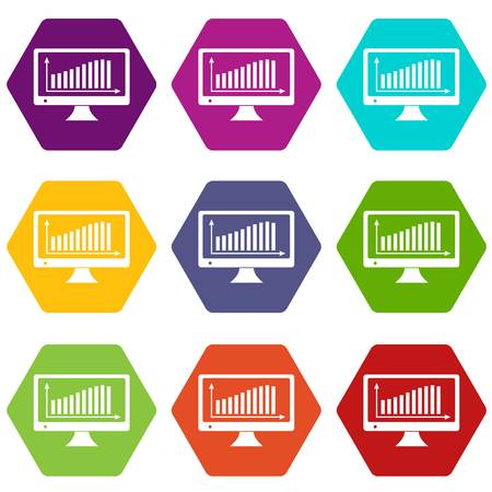 Graph on the monitor icons 9 set coloful isolated on white for web Illustration