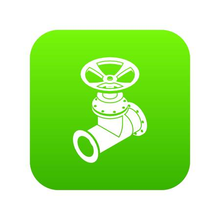 Gas pipe icon green vector isolated on white background