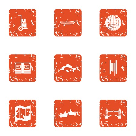 Remittance icons set. Grunge set of 9 remittancee vector icons for web isolated on white background