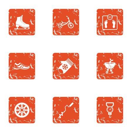 Passing life icons set. Grunge set of 9 passing life vector icons for web isolated on white background Çizim