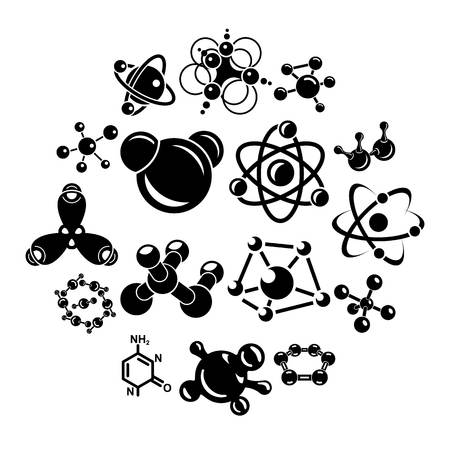 Molecule icons set. Simple illustration of 16 molecule vector icons for web