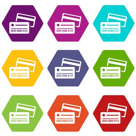 Credit card icons 9 set coloful isolated on white for web Illustration