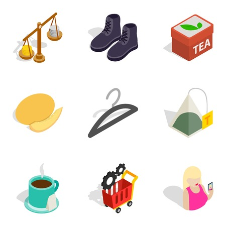 Bulk purchase icons set. Isometric set of 9 bulk purchase vector icons for web isolated on white background Illustration