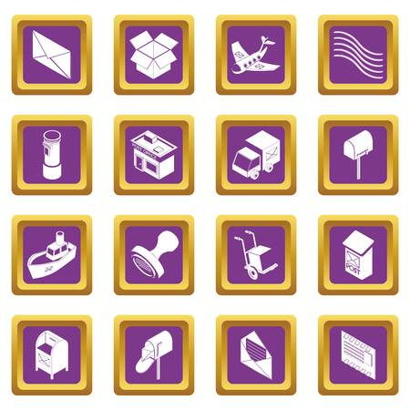 Poste service icons set vector purple square isolated on white background