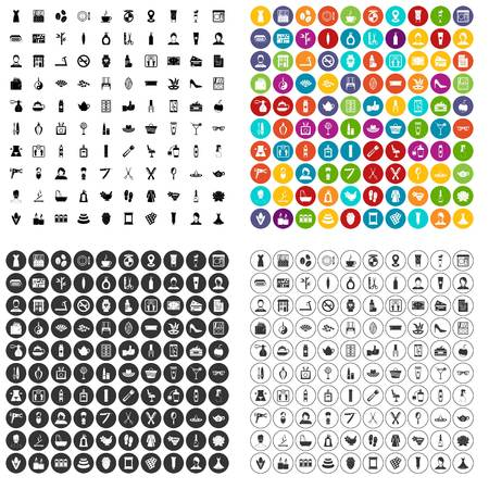 100 beauty salon icons set vector in 4 variant for any web design isolated on white