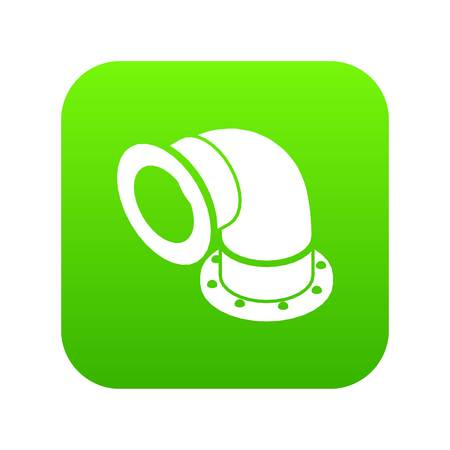 Semicircular pipe icon green vector isolated on white background Illustration