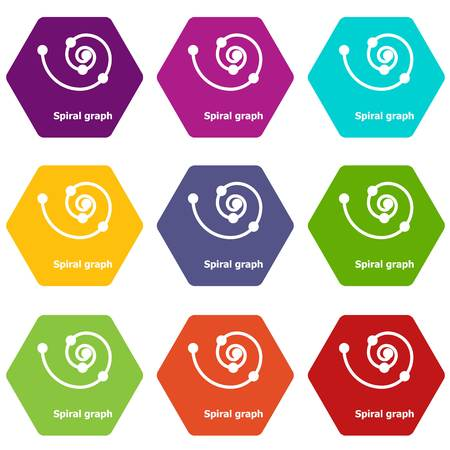 Spiral graph icons 9 set coloful isolated on white for web