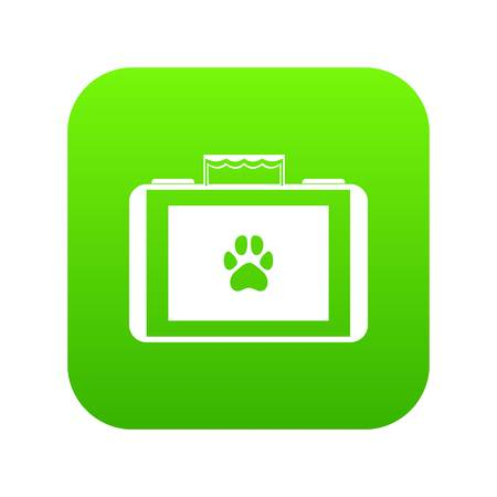 Suitcase for animals icon digital green for any design isolated on white vector illustration