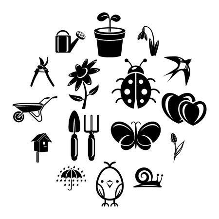 Spring icons set. Simple illustration of 16 spring vector icons for web