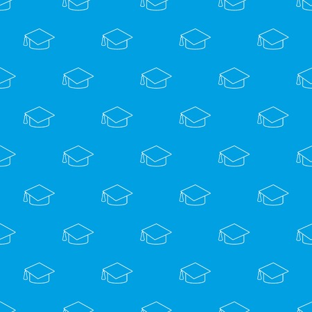 Graduation cap pattern vector seamless blue repeat for any use