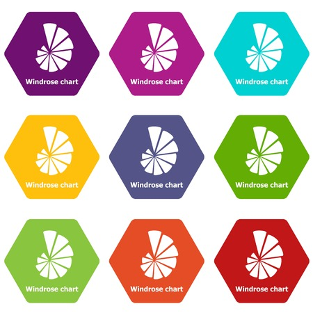 Windrose chart icons 9 set coloful isolated on white for web