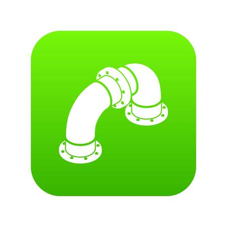 Curved pipe icon green vector isolated on white background Illustration