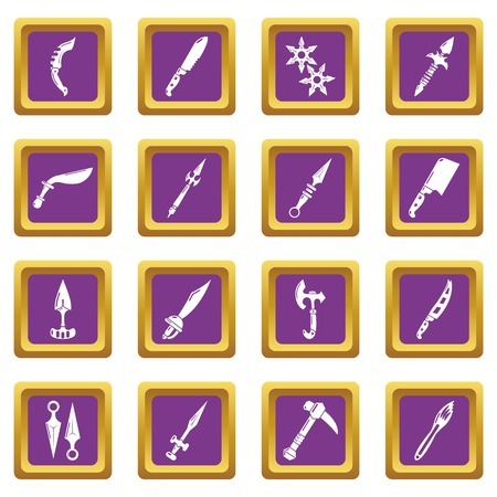 Steel arms items icons set vector purple square isolated on white background