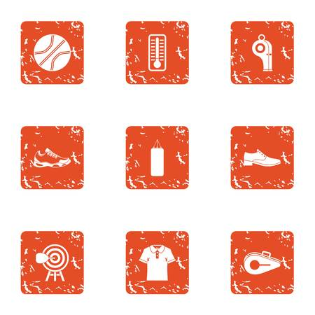 Sport standard icons set. Grunge set of 9 sport standard vector icons for web isolated on white background Illusztráció