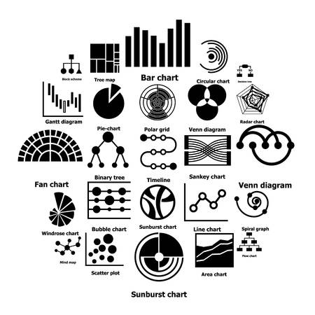 Infographic types collection icons set. Simple illustration of 25 infographic types collection vector icons for web Vettoriali