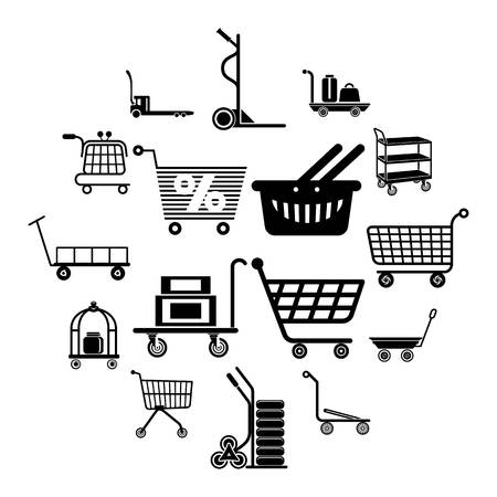 Cart types icons set. Simple illustration of 16 cart types icons set vector icons for web