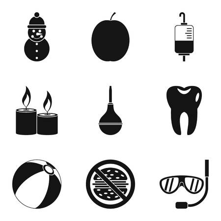 Trained body icons set. Simple set of 9 trained body vector icons for web isolated on white background