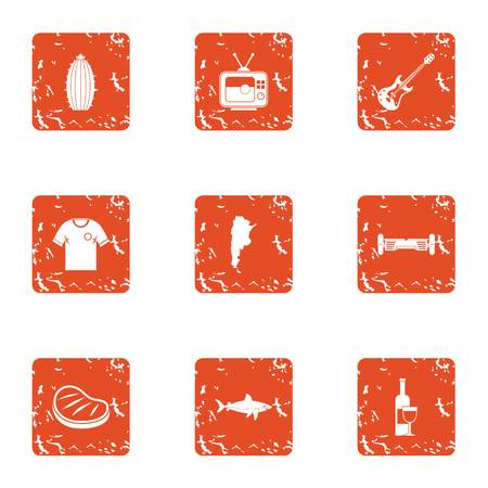 Green party icons set. Grunge set of 9 green party vector icons for web isolated on white background Illustration