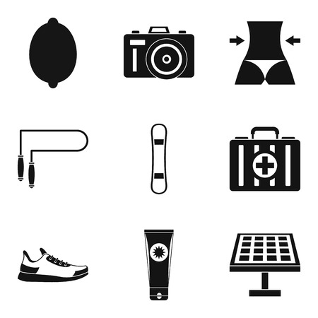 Woman trained icons set. Simple set of 9 woman trained vector icons for web isolated on white background