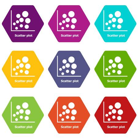 Scatter plot icons 9 set colorful isolated on white for web Vector illustration.