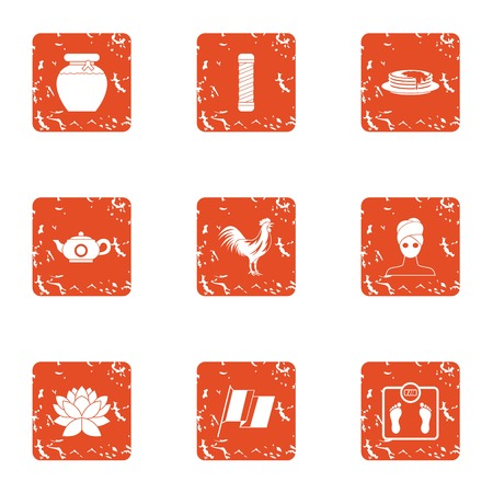 Tea period icons set. Grunge set of 9 tea period vector icons for web isolated on white background