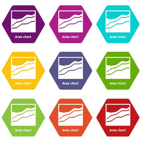 Area chart icons 9 set colorful isolated on white for web  Vector illustration. Çizim