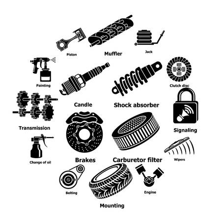 Car repair parts icons set. Simple illustration of 16 car repair parts vector icons for web Vettoriali