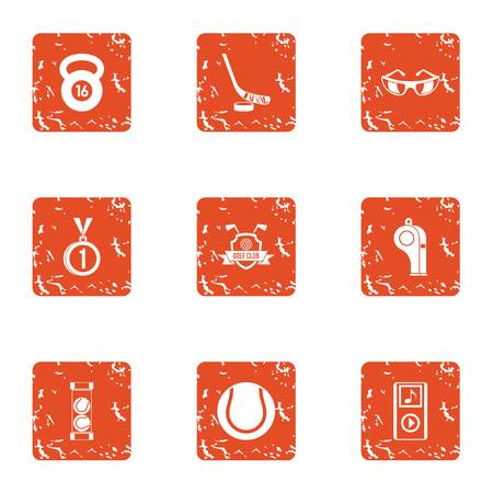 Practice icons set. Grunge set of 9 practice vector icons for web isolated on white background