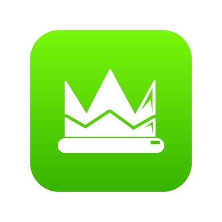 Prince crown icon green vector isolated on white background Vectores