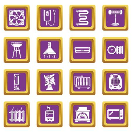 Heat cool air flow tools icons set
