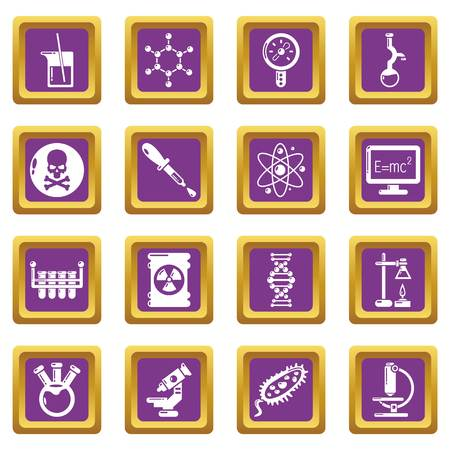 Chemistry laboratory icons set vector purple square isolated on white background
