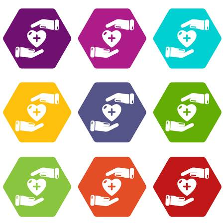 Insurance life icons 9 set coloful isolated on white for web