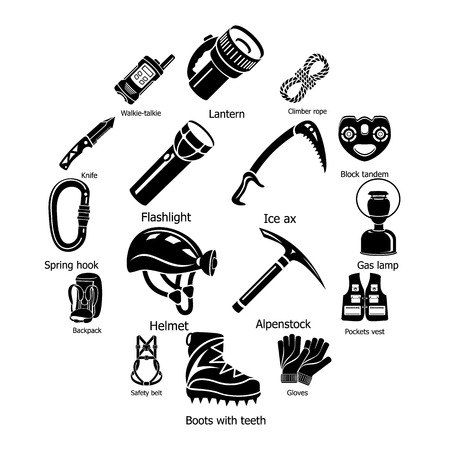 Speleology equipment icons set. Simple illustration of 16 speleology equipment vector icons for web Stock Illustratie