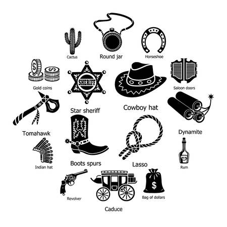 Wilde westen pictogrammen instellen. Eenvoudige illustratie van 16 wilde westen vector iconen voor web Stockfoto - 100507984