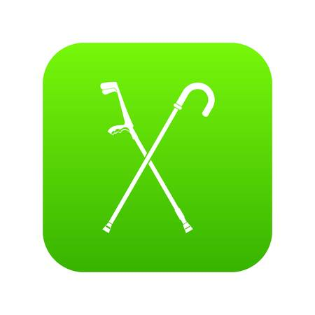 Walking cane icon digital green for any design isolated on white vector illustration