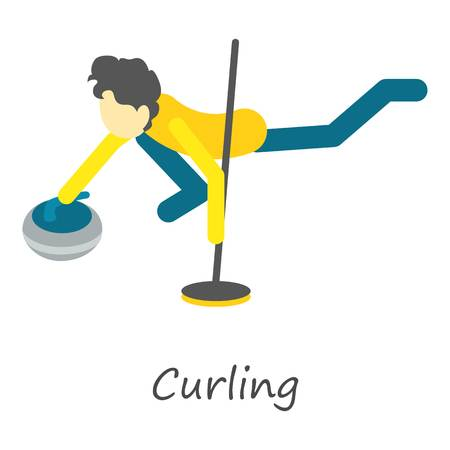 Curling icon. Isometric of curling vector icon for web design isolated on white background.